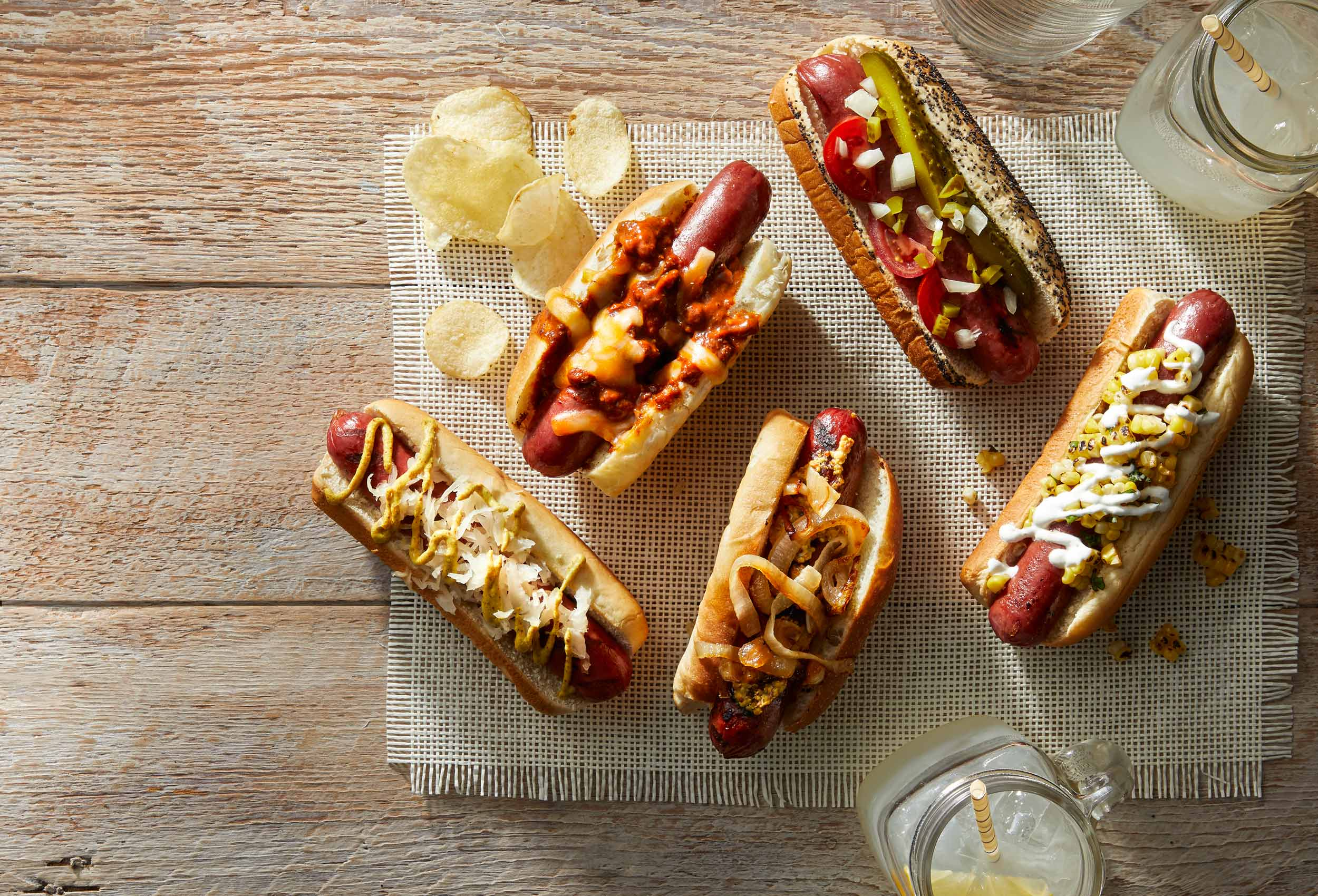 Summer hotdogs on a picnic table