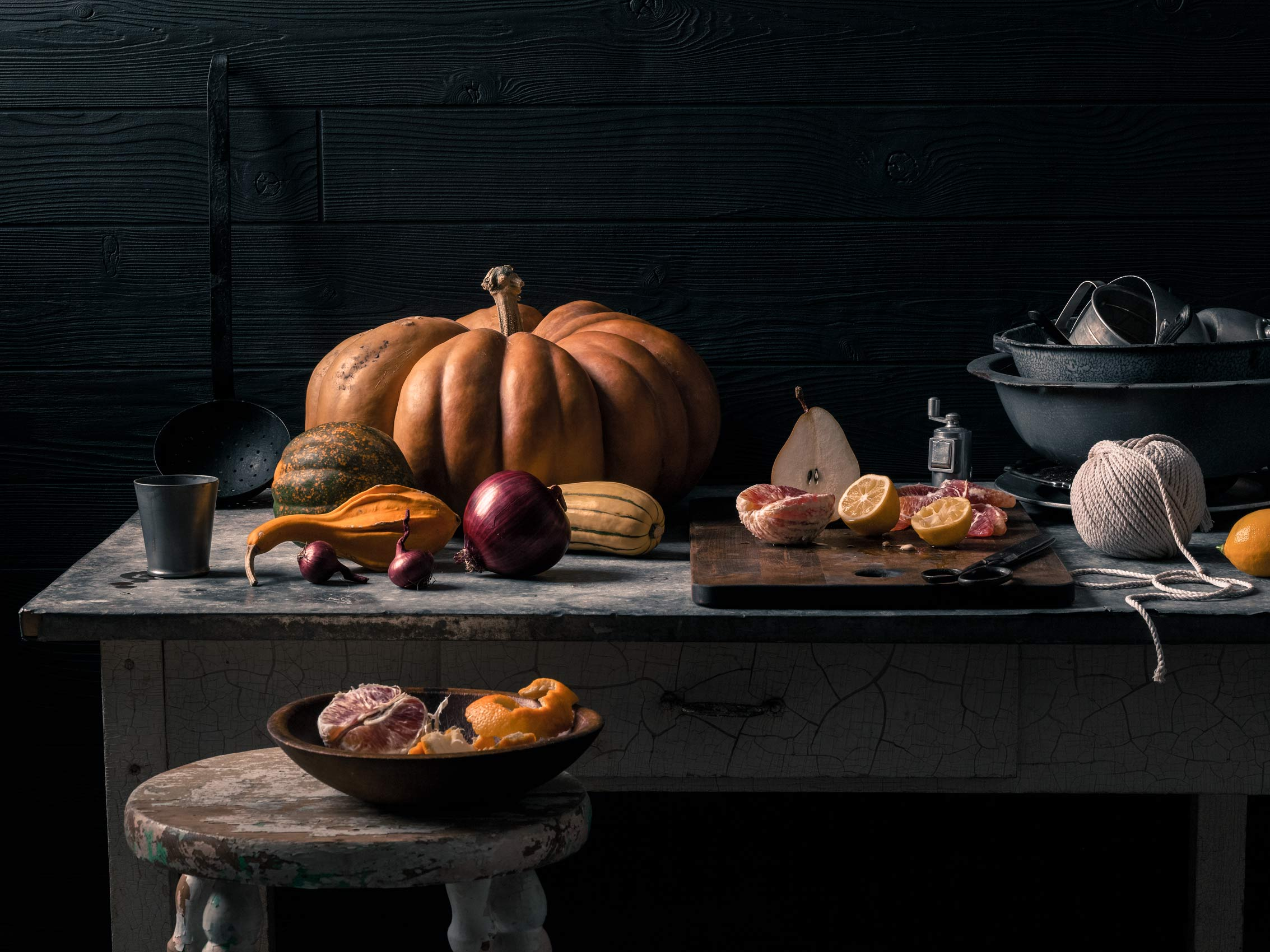 Dutch Master food still life of a Fall bounty table